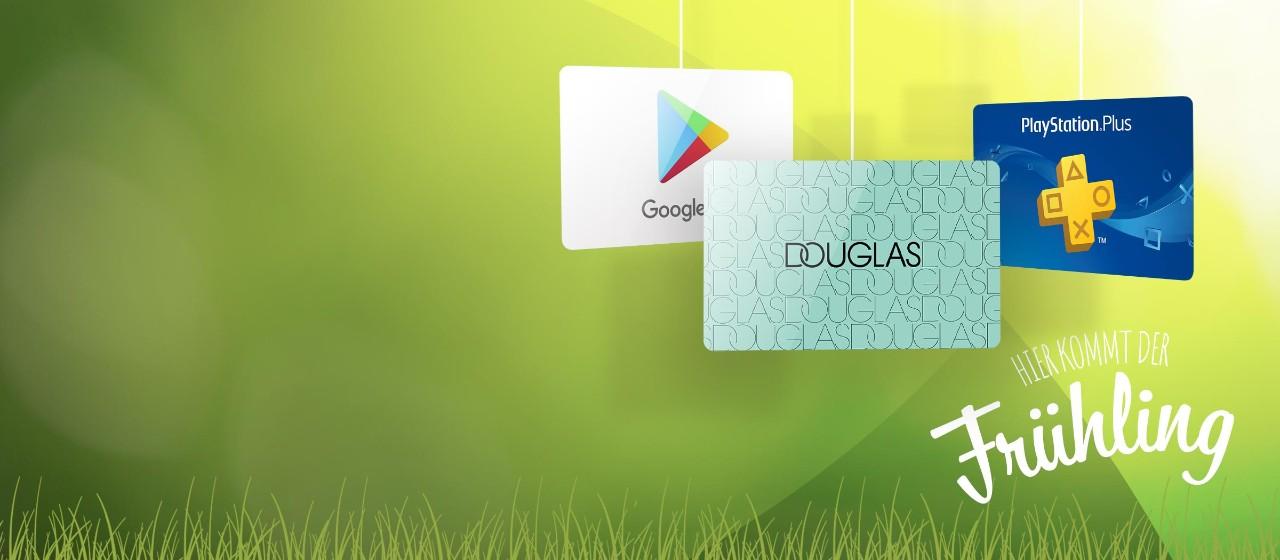Gutscheinkarten von Google, Douglas und PlayStation Plus